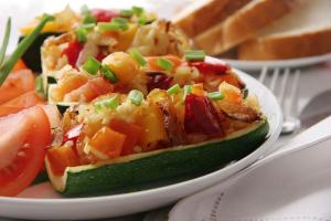 Brown Rice and Veggie Stuffed Zucchini
