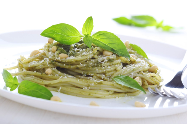 Whole-Wheat Pasta with Fresh Basil Pesto